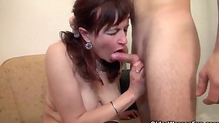 Busty hairy mature fucked by a young man